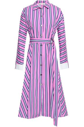 MAJE Belted striped cotton-poplin midi shirt dress