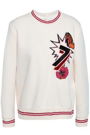 MAJE Embellished embroidered scuba sweatshirt