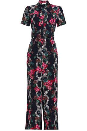 SANDRO Floral-print crepe de chine jumpsuit