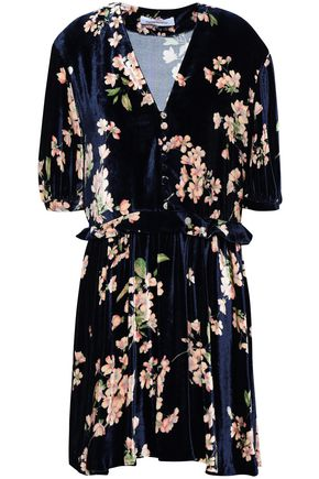 MAGDA BUTRYM Gathered floral-print velvet mini dress