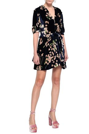 MAGDA BUTRYM Gathered floral-print velvet mini dress