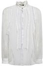 ROBERTO CAVALLI Corded lace-paneled tasseled silk-georgette blouse