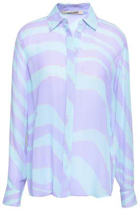 ROBERTO CAVALLI Zebra-print silk-georgette blouse