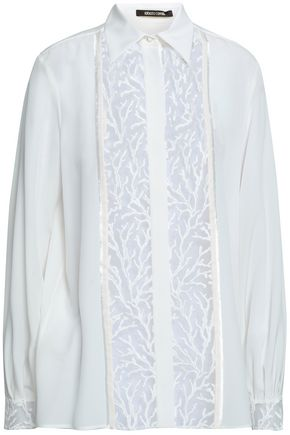 ROBERTO CAVALLI Embroidered tulle-paneled silk-georgette shirt