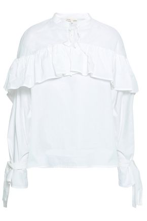 MAJE Ruffled cotton-poplin blouse
