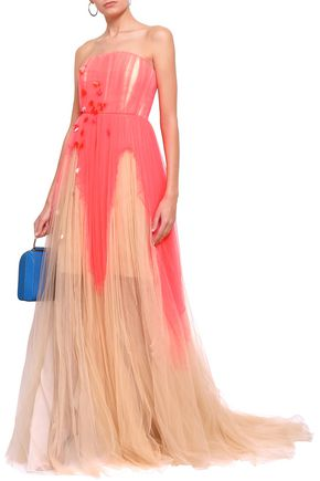 DELPOZO Sequin-embellished two-tone tulle gown