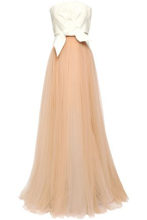 DELPOZO Bow-detailed cotton-jacquard and tulle gown