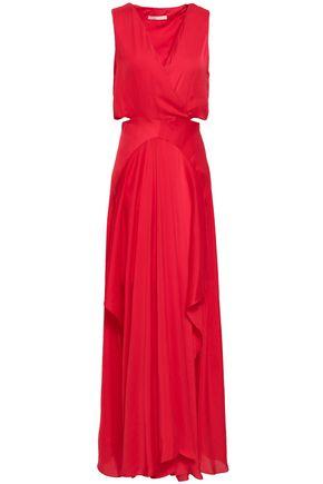 MAJE Cutout draped cady maxi dress
