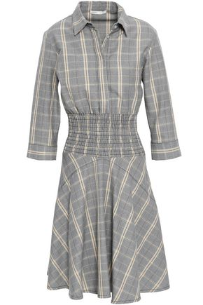 MAJE Shirred checked woven shirt dress