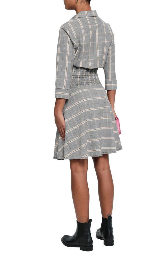 fa844c5e23d Shirred checked woven shirt dress