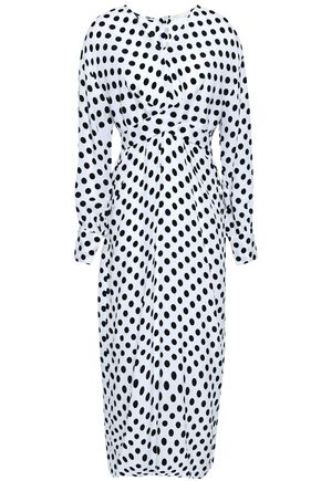 MAJE Belted polka-dot woven midi dress