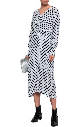 610c9fb5a3 MAJE Belted polka-dot woven midi dress