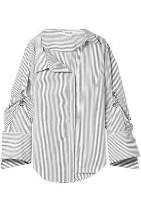MONSE Oversized embellished striped cotton-poplin shirt