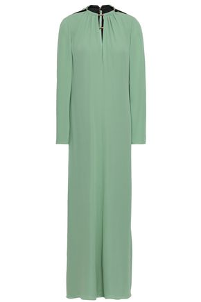VALENTINO Embellished silk-crepe maxi dress