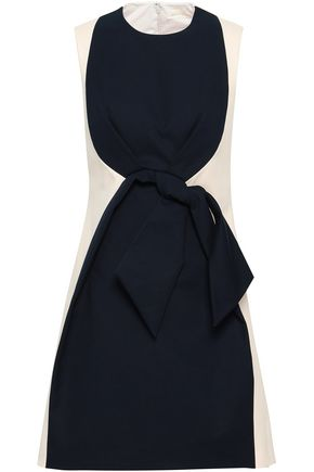 DELPOZO Knotted two-tone cotton-canvas mini dress