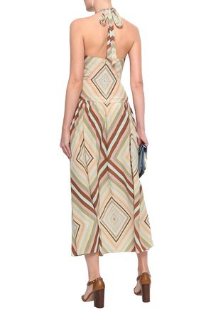 VALENTINO Printed silk halterneck midi dress