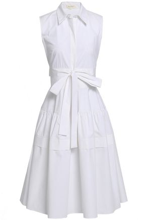 DELPOZO Bow-detailed flared cotton-poplin shirt dress