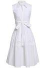 DELPOZO Bow-detailed flared cotton-poplin shirt dress