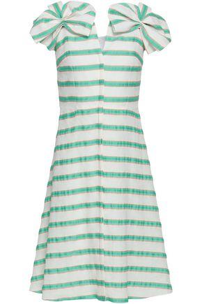 DELPOZO Bow-embellished striped linen-blend dress