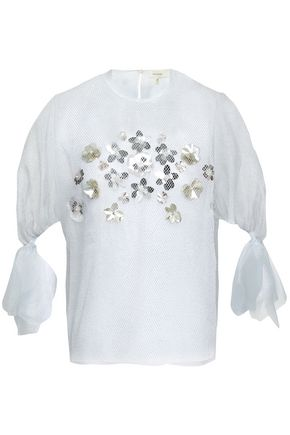 DELPOZO | Delpozo Woman Floral-appliquéd Organza And Metallic Net Top White | Goxip