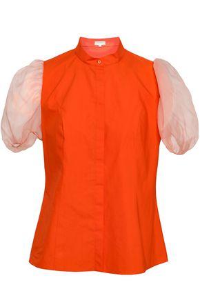 DELPOZO Gathered cotton-poplin and organza shirt