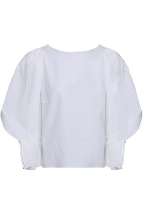 DELPOZO Gathered cotton-poplin top