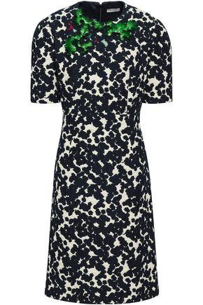 DELPOZO | Delpozo Woman Embellished Cotton-blend Jacquard Dress Navy | Goxip