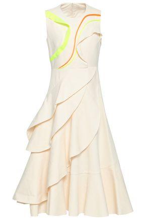 DELPOZO | Delpozo Woman Neon-trimmed Tiered Jacquard Midi Dress Ivory | Goxip