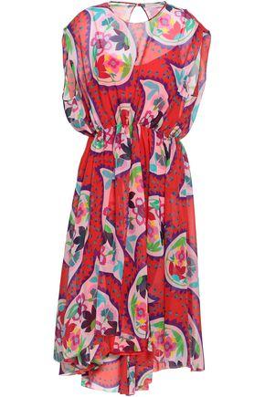 DELPOZO Printed silk-voile dress