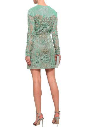 VALENTINO Embellished tulle mini dress