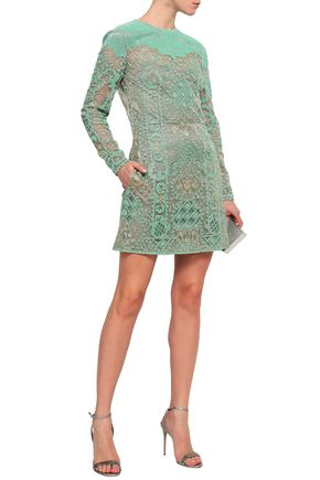 Valentino Woman Embellished Tulle Mini Dress Mint