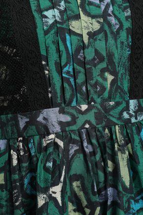 VALENTINO Lace-paneled printed woven mini dress