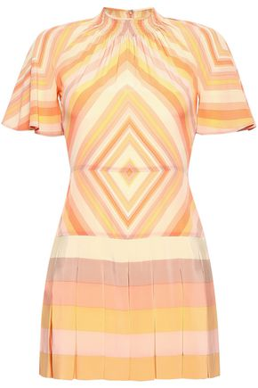VALENTINO Pleated printed silk crepe de chine playsuit