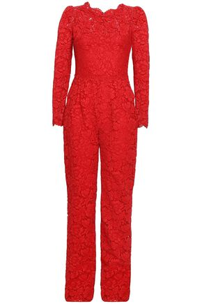 VALENTINO Cotton-blend corded lace jumpsuit