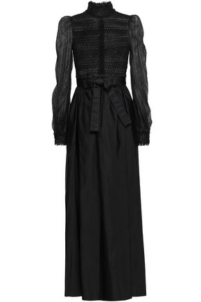 VALENTINO Belted lace and duchesse-satin gown