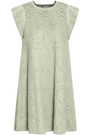 VALENTINO Fluted pointelle-knit mini dress