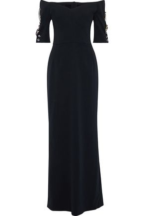 DOLCE & GABBANA Off-the-shoulder crystal-embellished stretch-silk crepe maxi dress