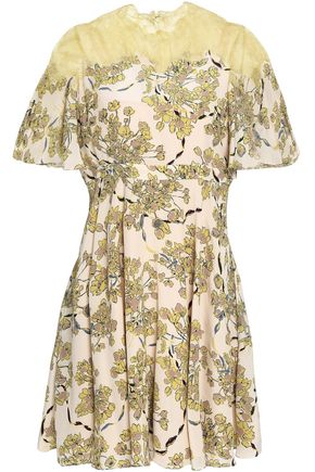 VALENTINO Lace-paneled floral-print silk crepe de chine mini dress