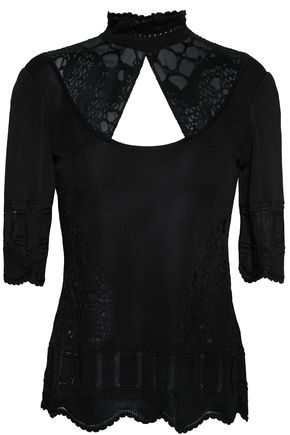 ROBERTO CAVALLI Paneled cutout knitted top