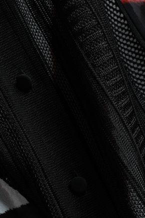 ROBERTO CAVALLI Crochet-paneled printed silk-georgette tunic