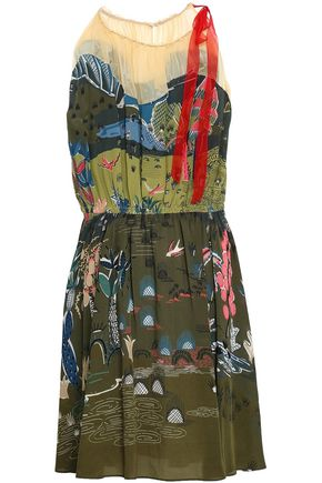 VALENTINO Gathered printed silk-georgette dress