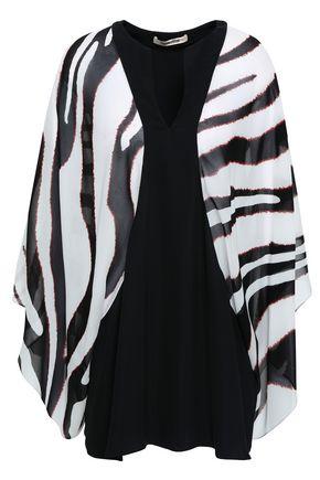 ROBERTO CAVALLI Paneled printed silk-georgette blouse