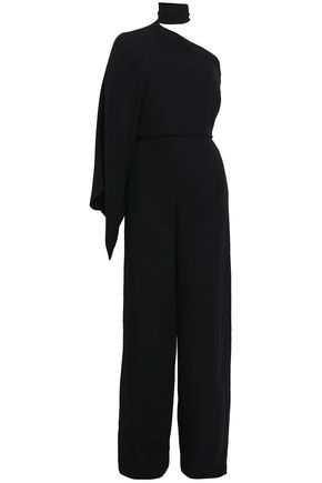 VALENTINO One-shoulder draped silk-crepe jumpsuit