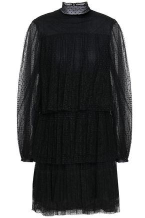 VALENTINO Pleated point d'esprit turtleneck mini dress