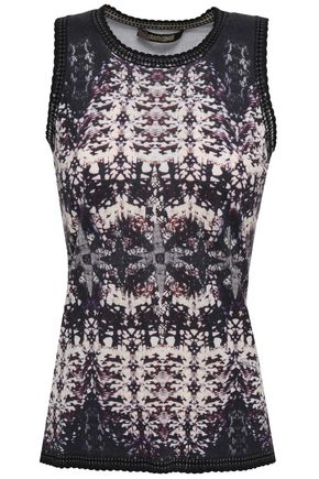 ROBERTO CAVALLI Scalloped printed knitted top