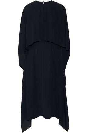 VALENTINO Draped layered silk crepe de chine midi dress