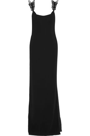 VALENTINO Appliquéd crepe gown