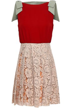 VALENTINO Bow-embellished cotton-blend corded lace and crepe mini dress