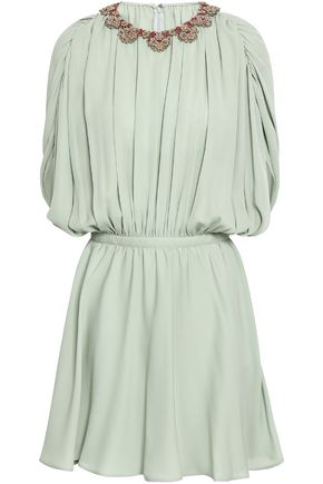 VALENTINO Embellished pleated silk crepe de chine mini dress