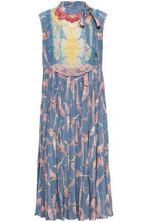 VALENTINO Point d'esprit-paneled pleated printed silk dress